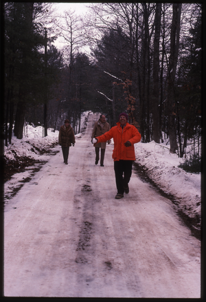 Wendell Farm: Dan Keller(?) with snowball and two others on snowy road, NH?