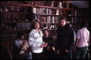 Wendell Farm: Nina and Dan Keller at al., living room, N.H., linking to the digital object