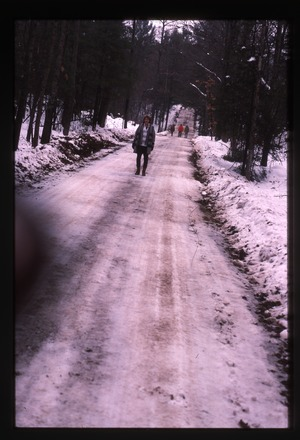 Wendell Farm: Nina Keller on snowy road
