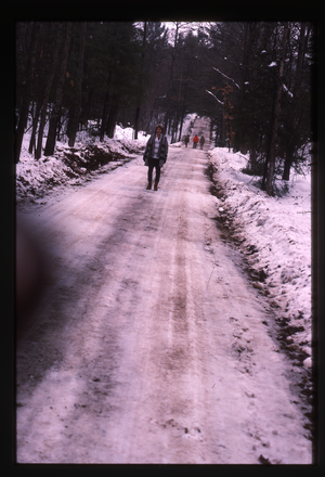 Wendell Farm: Nina Keller on snowy road, linking to the digital object