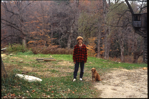 Wendell Farm: Nina Keller and red dog, Wendell, linking to the digital object