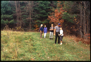 Wendell Farm: Nina Keller, Dan Keller and family on walk, Wendell
