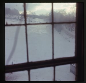 Montague Farm: 'View from the window' (over snow covered field, looking east, Montague)