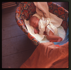 Montague Farm: Baby (Eben) in basket, linking to the digital object