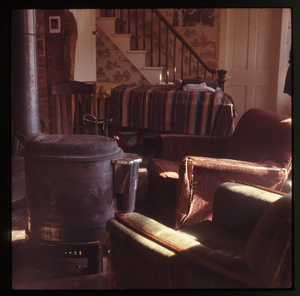Montague Farm: Living room and stove, Montague
