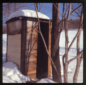 Montague Farm: Outhouse in the snow, Montague, linking to the digital object