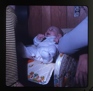 Montague Farm: Baby (Eben) in baby seat, laughing