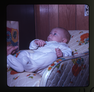 Montague Farm: Baby (Eben) in baby seat, linking to the digital object