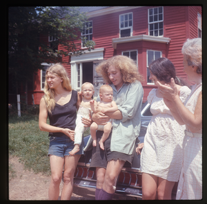 Montague Farm: 'Janice and Sequoia, Eben 5 months' (also Chuck Light, Nina Keller, Nina's mother in front of house, Montague)