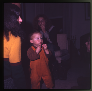 Montague Farm: Nina Keller, Chuck Light, and baby (Eben?) in living room, Montague, linking to the digital object