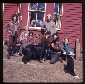 Montague Farm: Nina Keller, her mother, two children, Janice Frey (end), three others and two dogs in front of house at Montague, linking to the digital object