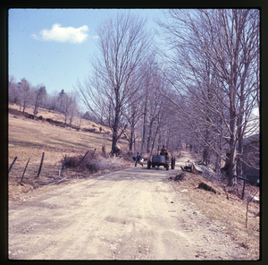Montague Farm: Riding the tractor while sugaring, linking to the digital object