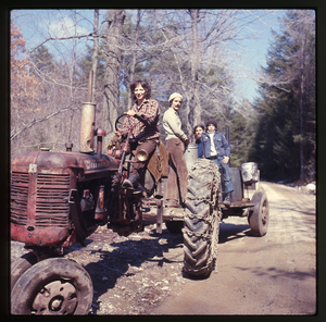 Montague Farm: Nina Keller driving tractor, three others, sugaring, linking to the digital object