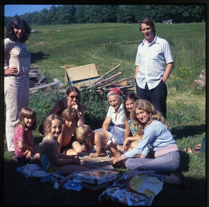 Montague Farm: Nina Keller and family at picnic, linking to the digital object