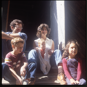 Wendell Farm: Keller family at barn, linking to the digital object