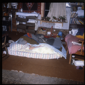 Wendell Farm: Sleeping on a mattress on the floor, linking to the digital object