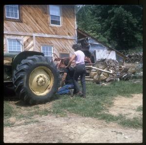 Wendell Farm: Dan, Nina, tractor at Wendell