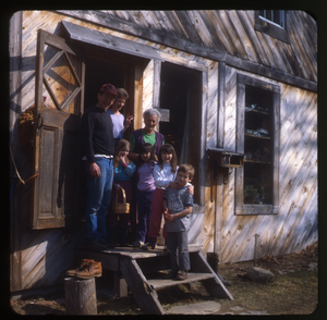 Wendell Farm: Keller family at doorway, Wendell