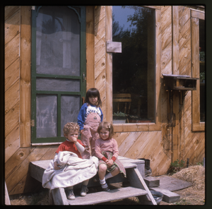 Wendell Farm: Three children on front steps, Wendell, linking to the digital object