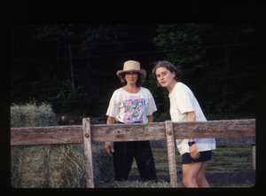 Wendell Farm: Nina Keller and unidentified woman, haying, Wendell(?), linking to the digital object