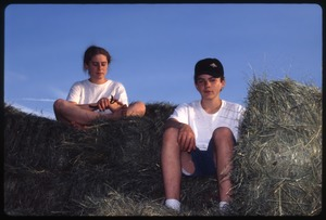 Wendell Farm: Two children on hay truck, Wendell(?)