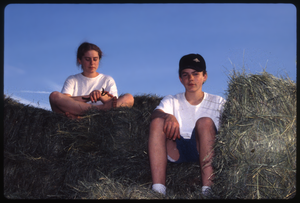 Wendell Farm: Two children on hay truck, Wendell(?), linking to the digital object