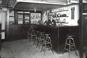 Bartender at the counter, interior shot, Wendell, Mass.