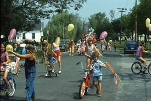 Wendell (Mass.) Bicentennial Celebration: children on bicycles at parade