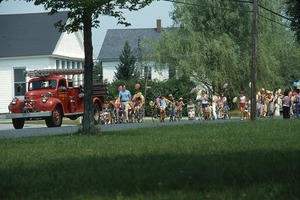 Wendell (Mass.) Bicentennial Celebration: fire truck leading parade