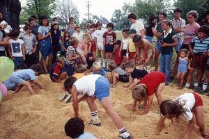 Wendell (Mass.) Bicentennial Celebration: children's treasure hunt in sand pile