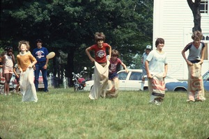 Wendell (Mass.) Bicentennial Celebration: sack race on Wendell Common