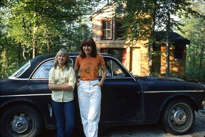 Wendell (Mass.) Bicentennial Celebration: two women standing by a Volvo