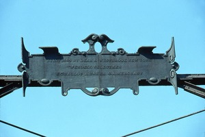 Wendell (Mass.) Bicentennial Celebration: wrought iron sign atop bridge, built 1889 by Dean and Westbrook