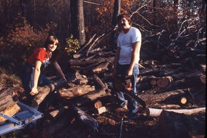 Wendell (Mass.) Bicentennial Celebration: man and woman cutting wood with chainsaw