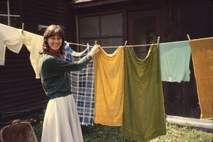 Wendell (Mass.) Bicentennial Celebration: woman hanging laundry on a line