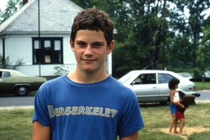 Wendell (Mass.) Bicentennial Celebration: portrait of teen aged boy wearing Berserkeley t-shirt