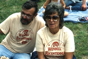 Wendell (Mass.) Bicentennial Celebration: portrait of a couple wearing Wendell Bicentennial t-shirts
