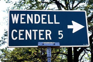 Wendell (Mass.) Bicentennial Celebration: sign for Wendell Center 5 miles