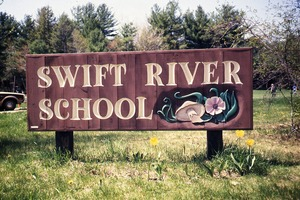 Wendell (Mass.) Bicentennial Celebration: Swift River School sign