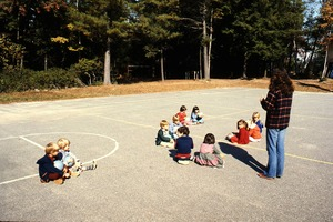 Wendell (Mass.) Bicentennial Celebration: children on playground at Swift River School