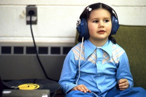 Wendell (Mass.) Bicentennial Celebration: young girl with headset, Swift River School