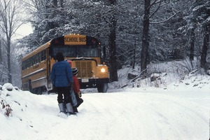 Wendell (Mass.) Bicentennial Celebration: two children waiting for school bus in the snow, Wendell, Mass.