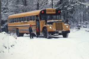 Wendell (Mass.) Bicentennial Celebration: two children getting onto school bus in the snow, Wendell, Mass.