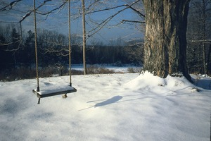 Wendell (Mass.) Bicentennial Celebration: swing hanging from tree in snow