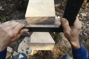Wendell (Mass.) Bicentennial Celebration:squaring tenons for post and beam building