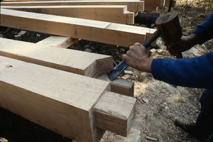Wendell (Mass.) Bicentennial Celebration: cutting tenons for post and beam building