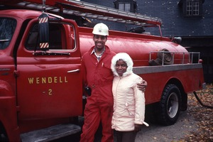 Wendell (Mass.) Bicentennial Celebration: fire truck, fireman, and young girl