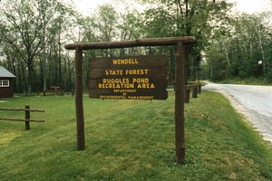 Wendell (Mass.) Bicentennial Celebration: sign for Wendell State Forest, Ruggles Pond Recreation Area