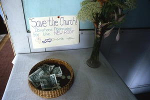 "Wendell (Mass.) Bicentennial Celebration: donation box with sign reading ""Save the church,"" Congregational Church, Wendell"