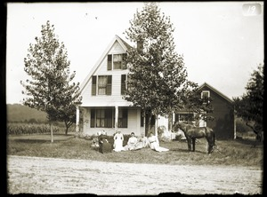 Women and horse in front of house (Greenwich, Mass.)